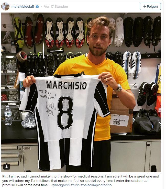 Juventus, Marchisio scrive a Rihanna e le regala la maglia